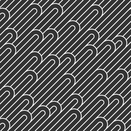 Seamless linear vector geometric minimalistic pattern, abstract lines tiling background, stripy weaving, optical maze, twisted stripes. Black and white design.