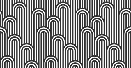 Seamless pattern with twisted lines, vector linear tiling background, stripy weaving, optical maze, twisted stripes. Black and white design. Ilustrace