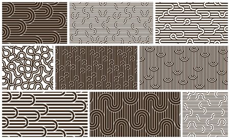 Lined seamless vector patterns with twisted lines, geometric abstract backgrounds set, stripy net, optical maze, web network. Ilustrace
