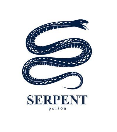Snake emblem or tattoo, deadly poison dangerous serpent, venom aggressive predator reptile animal vintage style illustration.
