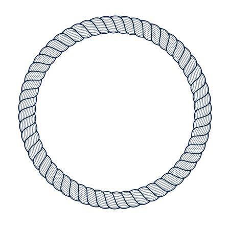Round frame from rope, vector design element, circle shape border, sailing marine theme.