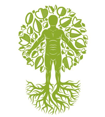 Vector illustration of human being created as continuation of tree with strong roots and made using natural green leaves. Human growth and personality development concept. Illusztráció