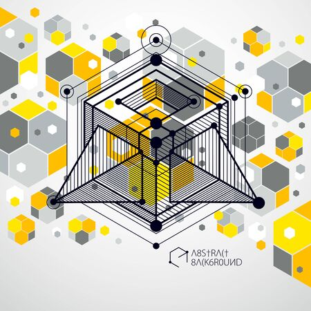 Lines and shapes abstract vector isometric 3D yellow background. Abstract scheme of engine or engineering mechanism. Layout of cubes, hexagons, squares, rectangles and different abstract elements. Ilustrace