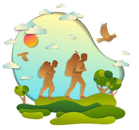 Father and son hiking to nature with grasslands and trees, fatherhood and teenage aged boy. Vector illustration of beautiful summer scenic landscape, birds in the sky, holidays. Illustration