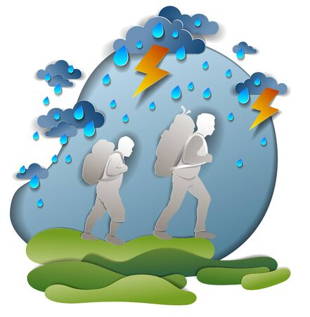 Active father and son hiking in storm with lightning and rain, motivation, survival test. Vector illustration of stormy weather with hiking guys carrying backpacks, dark cloudy sky, holidays.