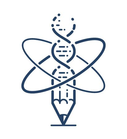 Pencil with atom and DNA strand vector simple linear icon, education and science physics and biotechnology line art symbol, biology research and solutions.