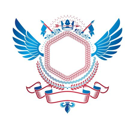 Graphic winged emblem created with ancient Crown and sharp spear. Heraldic vector design element decorated with ribbon.