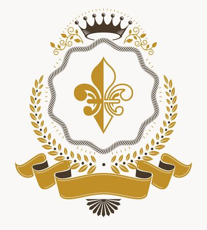 Vintage award design, vintage heraldic Coat of Arms. Vector emblem. Illusztráció