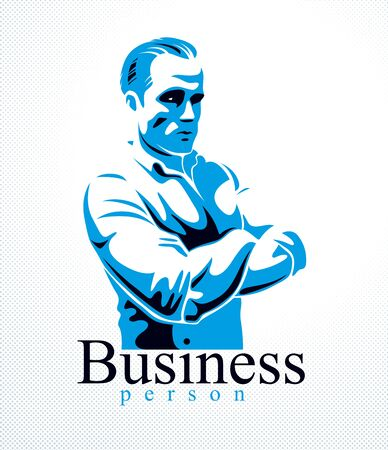 Confident successful businessman handsome man business person vector logo or illustration realistic drawing style.