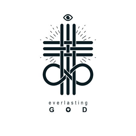 Everlasting God vector creative symbol design combined with infinity endless loop and Christian Cross Illustration