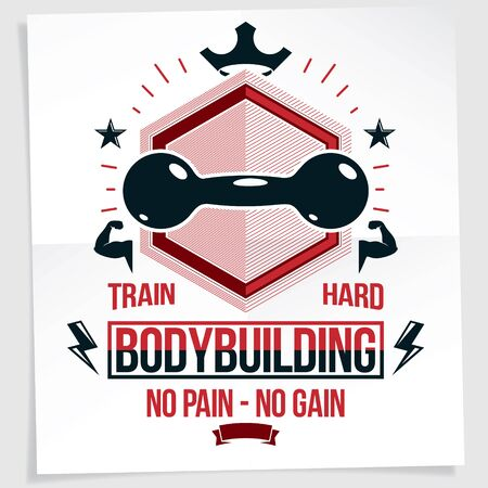 Cross fit motivation poster created with dumbbell vector element. No pain no gain writing. Stock fotó - 135215903