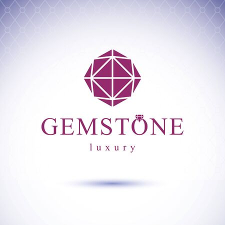 Vector faceted gemstone illustration with sparkles, polygonal. Luxury diamond sign emblem.