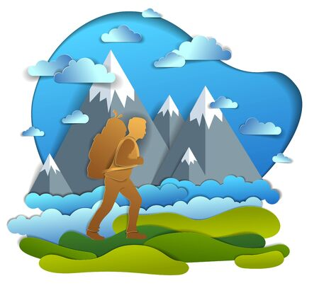 Hiker man walking through grasslands with high mountain peaks in background. Vector illustration of scenic nature with hiking guy carrying backpack, climber. Summer vacations.  イラスト・ベクター素材