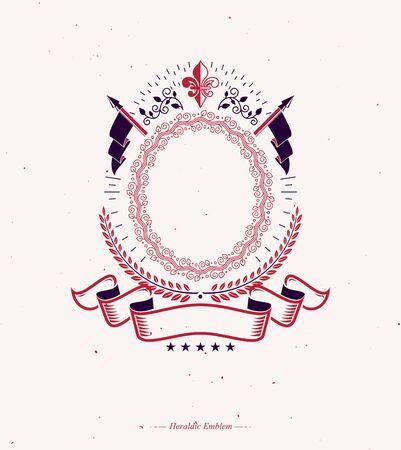 Graphic emblem composed with royal symbol Lily Flower, laurel wreath and flags. Heraldic vector design element. Reklamní fotografie - 137853018