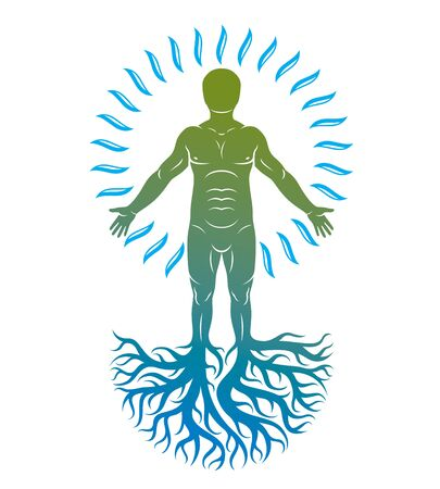 Vector graphic illustration of strong male, body silhouette deriving from water and composed with tree roots. International world water day.