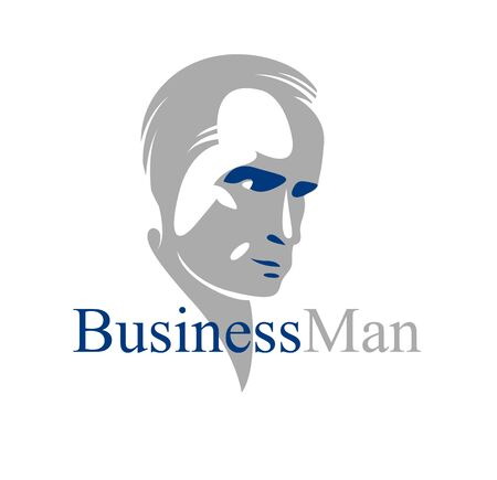 Confident successful businessman handsome man business person illustration realistic drawing style.