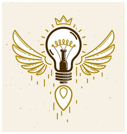 Idea light bulb with wings launching like a rocket vector linear icon, creative idea startup, science invention or research lightbulb, new business start.