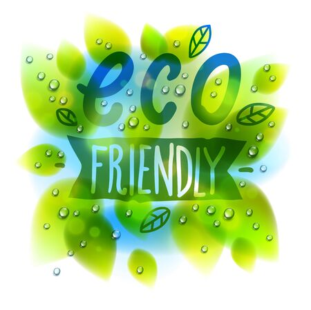 Eco friendly words drawn on a window, fresh green leaves and water rain drops or condensate macro, vector 3d realistic transparent illustration, ecology nature beautiful art. Archivio Fotografico - 136397341