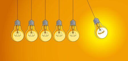 Light bulb Newton cradle pendulum idea, vector illustration.