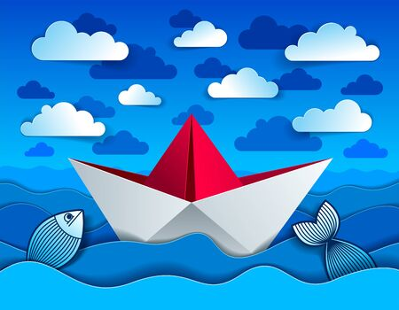 Origami paper ship toy swimming in curvy waves of the sea and clouds in the sky, beautiful vector illustration in paper cut style.