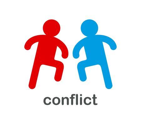 Two people ready to fight conflict vector concept simple icon isolated on white.