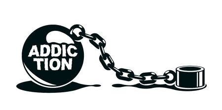 Shackles chain with weight metal ball vector concept isolated on white, concept of addiction or bad problems or debt, freedom and liberty, slavery and liberation, bad habits.