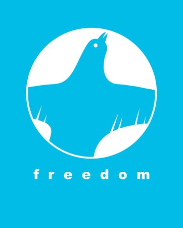 Bird flying up into sky freedom concept vector poster, liberty and human rights allegory, career or business ambitions, dove spread wings. 일러스트