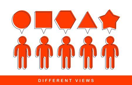Concetto di vettore di diversità di opinioni, metafora di prospettive diverse, punto di vista alternativo della visione del mondo, mente e pregiudizio.