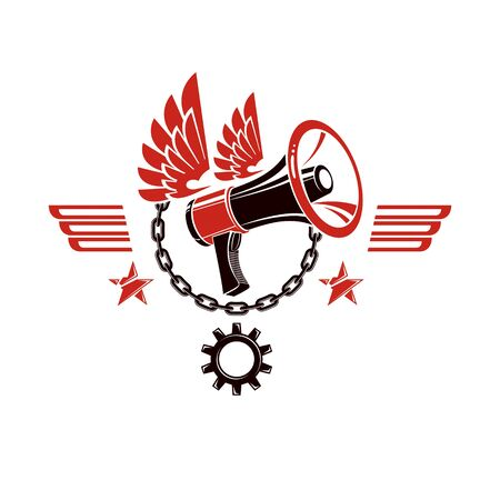 Decorative vector emblem composed with winged loudspeaker and chain. Propaganda as the means of manipulation and control, freedom for the prisoners. 向量圖像