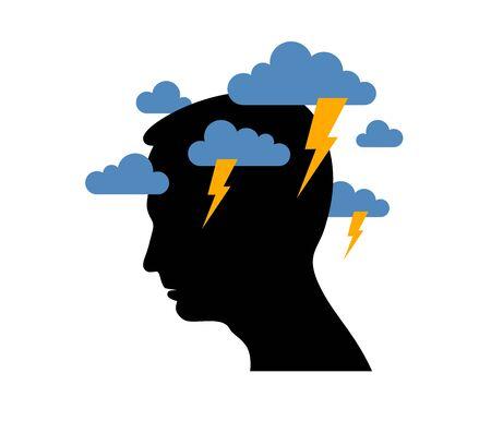 Depresión de salud mental y alta ansiedad vector ilustración conceptual o logotipo visualizado por el perfil de la cara del hombre y nubes oscuras sobre su cabeza.