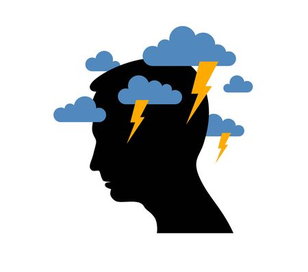 Depression mental health and high anxiety vector conceptual illustration or logo visualized by man face profile and dark clouds over his head.