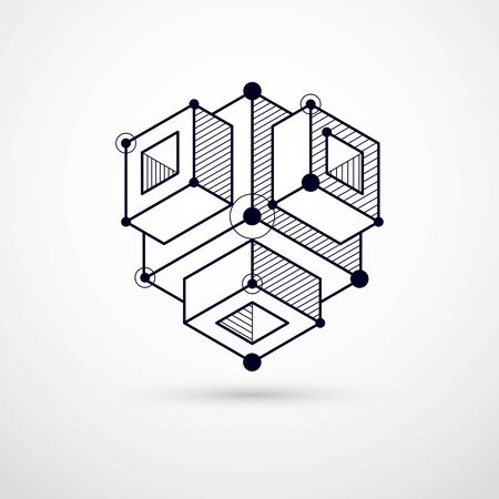 Technical blueprint, vector black and white digital background with geometric design elements, cubes. Engineering technological wallpaper made with honeycombs.