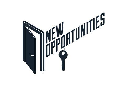 Halboffenes Türvektorkonzept für neue Möglichkeiten, Schritt in die zukünftige Metapher, Beginn eines neuen Geschäfts oder einer Karriere, mysteriöse geheime Türallegorie.