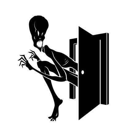 Le monstre de cauchemar entre dans l'illustration élégante de vecteur de chambre à coucher sombre, créature fantôme drôle de bande dessinée effrayante regardant à l'intérieur, dessin de thème d'horreur.