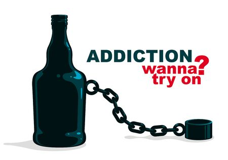 Bottle as a weight on shackles chain to leg alcoholism metaphor vector trendy design of social advertising poster or banner, addiction to alcohol bad habits and problems. Ilustração