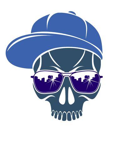 Logo ou icône de vecteur de crâne élégant urbain, tatouage criminel agressif d'aviron, style de gangster.