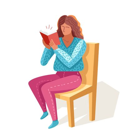 Young woman reading a book vector trendy flat illustration isolated on white, knowledge learning education, self-education, fiction literature.