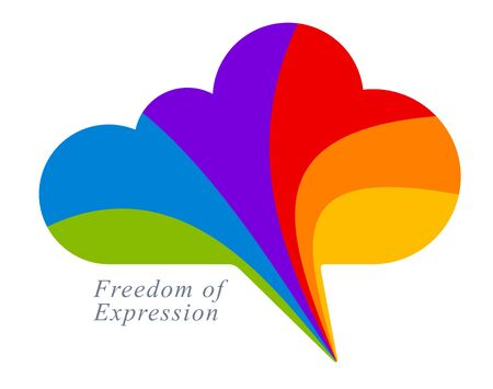 Freedom of expression vector concept shown with speech bubble in a shape of cloud and different colors of rainbow, opinion diversity, express yourself.