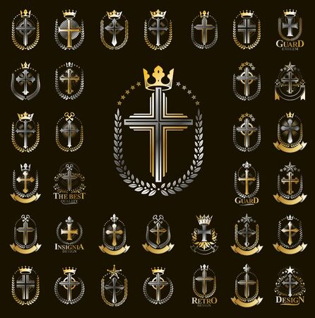 Vintage Christian crosses vector logos or emblems, heraldic design elements big set, classic style heraldry religion symbols, antique designs.