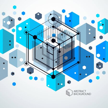 Template 3D blue design layout for brochure , flyer , poster, advertising, cover, vector abstract modern background. Composition of cubes, hexagons, squares, rectangles and different abstract elements. Ilustração