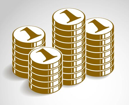 Coin stack cash money or casino chips still-life, vector icon, illustration, revenue or taxes concept, pile of cents.