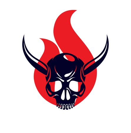 Devil sign horned skull in flames vector illustration classic style tattoo, dead scull with animal horns on fire. Vetores