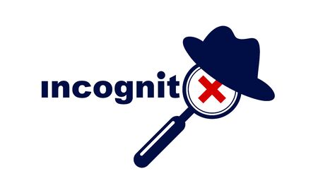 Incognito vector concept magnifying glass with hat like a spy, criminal hiding his person, against law illegal man, unidentified person.
