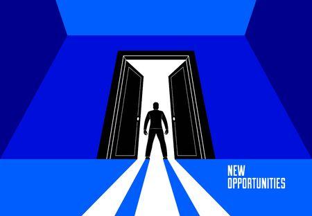 Man standing in half open big door hesitating to step in vector concept of new opportunities, step into future metaphor, debt decision to go to future.