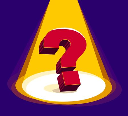 Question mark under highlights of stage spotlight vector 3d illustration.