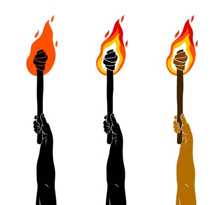 Torch in a hand raised up vector illustration, Prometheus, flames of fire, bring the light to the dark, conceptual allegory art.