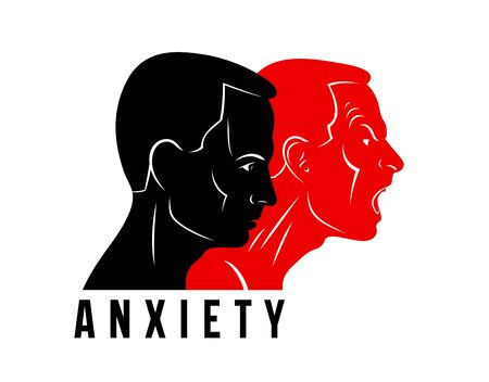 Anxiety inner conflict and suspended anger mental health vector conceptual illustration visualized by man face profile and other profile comes from first with scream and shout. Ilustrace