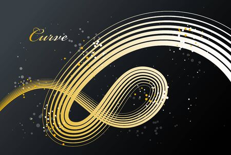Golden 3D lines in motion dimensional vector abstract background, gold elegant curvy light stripy design element, luxury theme template for ads.