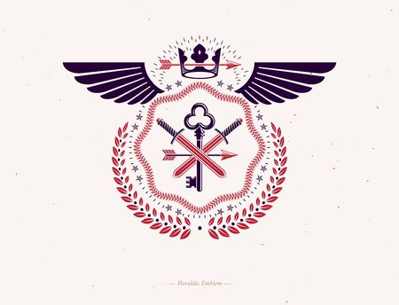 Vintage heraldry design template with bird wings, vector emblem created with royal crown and armory. Vectores