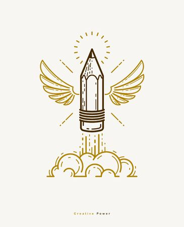 Pencil with wings launching like a rocket start up, creative energy genius artist or designer, vector design and creativity or icon, art startup. Ilustração